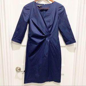 LAFAYETTE 148 Blue 3/4 Sleeve V-Neck Sateen Dress